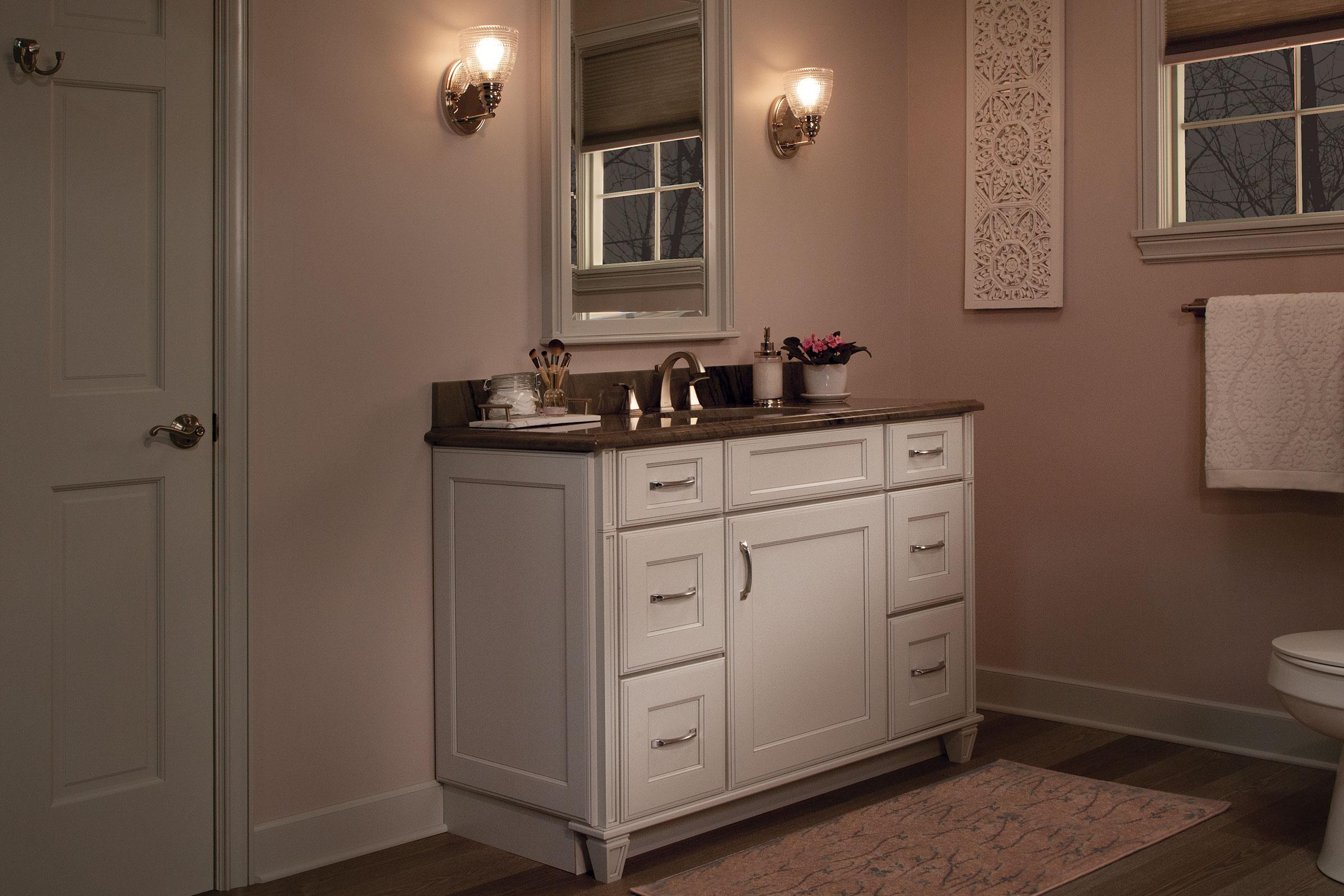 KraftMaid maximizes small bathroom space.